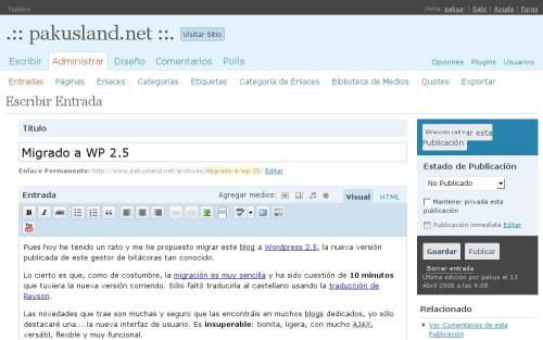Migrado a WP 2.5
